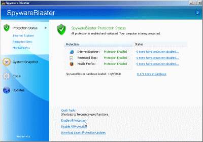 SpywareBlaster Enable All Protection